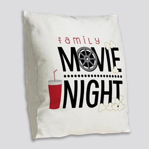 Family Movie Night Burlap Throw Pillow
