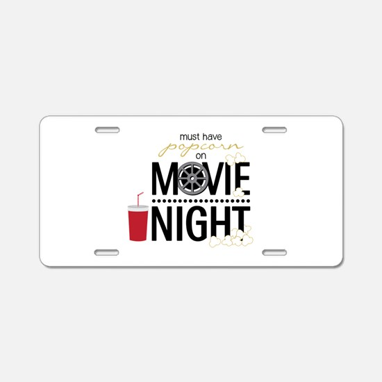 Movie Night Pop Aluminum License Plate