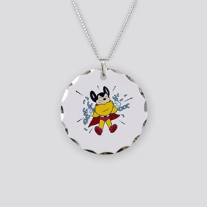 Mighty Mouse Necklace Circle Charm