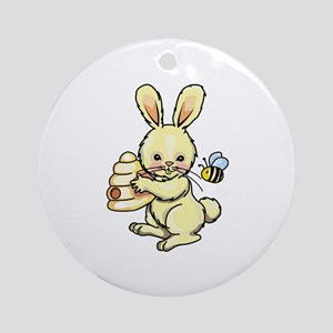BUNNY WITH BEE AND HIVE Ornament (Round)
