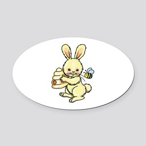 BUNNY WITH BEE AND HIVE Oval Car Magnet
