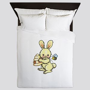 BUNNY WITH BEE AND HIVE Queen Duvet