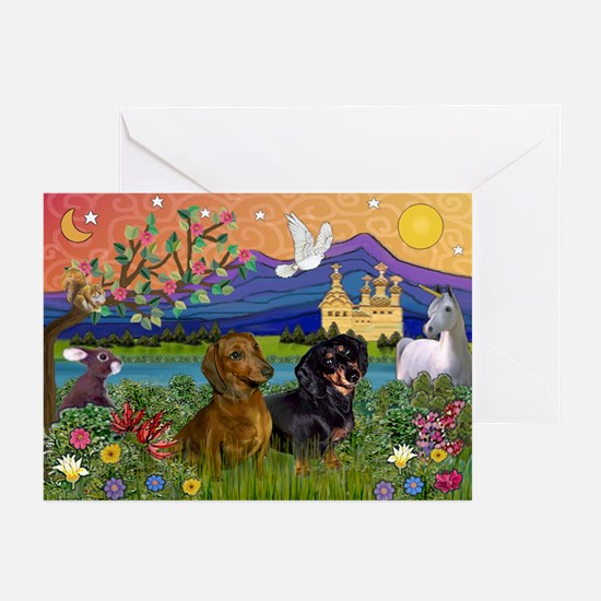 Dachshunds in Fantasyland Greeting Cards-Pack of 6