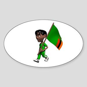 Zambia Boy Oval Sticker