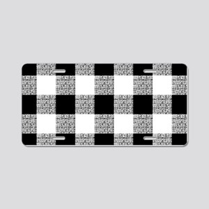 Black And White Gingham Aluminum License Plate