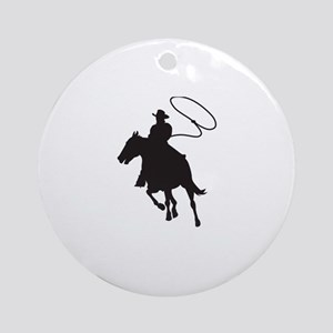 ROPING COWBOY Ornament (Round)
