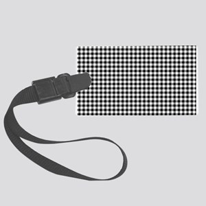 Black And White Gingham Large Luggage Tag
