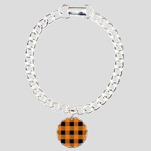 Orange And Black Gingham Charm Bracelet, One Charm