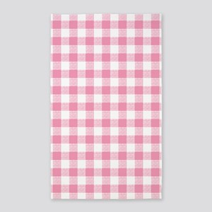 Pink Gingham Pattern Area Rug