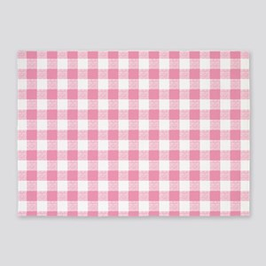 Pink Gingham Pattern 5'x7'Area Rug