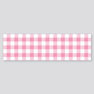 Pink Gingham Pattern Sticker (Bumper)