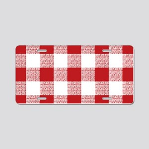 Red Gingham Pattern Aluminum License Plate