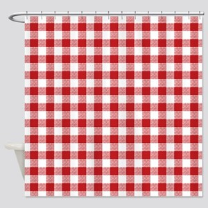 Red Gingham Pattern Shower Curtain