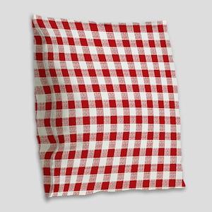 Red Gingham Pattern Burlap Throw Pillow