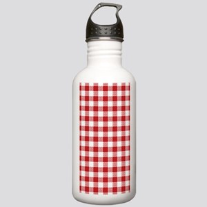 Red Gingham Pattern Stainless Water Bottle 1.0L
