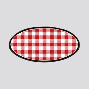 Red Gingham Pattern Patches