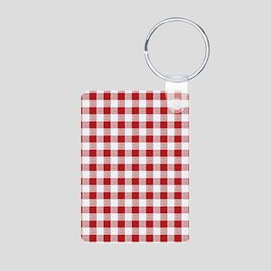 Red Gingham Pattern Aluminum Photo Keychain