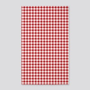 Red Gingham Pattern Area Rug