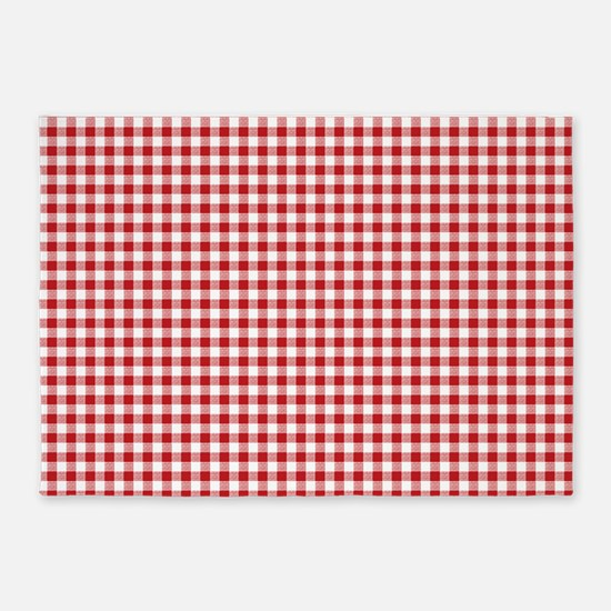 Red Gingham Pattern 5'x7'Area Rug