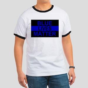 Blue Lives Matter Stripe Ringer T