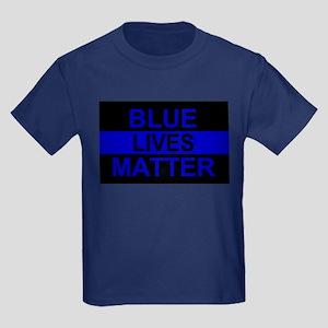 Blue Lives Matter Stripe Kids Dark T-Shirt