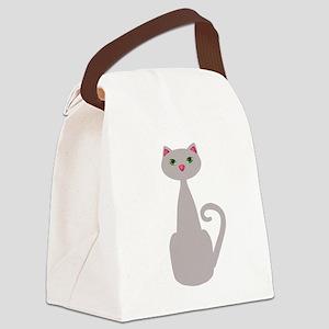 Cute Tall Gray Cat Canvas Lunch Bag