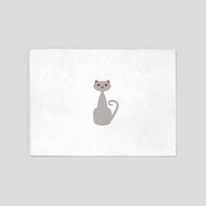 Cute Tall Gray Cat 5'x7'Area Rug