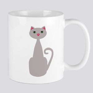 Cute Tall Gray Cat Mugs