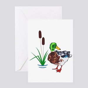 MALLARD AND CATTAILS Greeting Cards