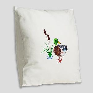 MALLARD AND CATTAILS Burlap Throw Pillow