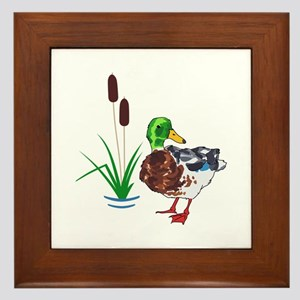 MALLARD AND CATTAILS Framed Tile