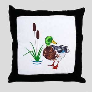 MALLARD AND CATTAILS Throw Pillow