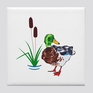 MALLARD AND CATTAILS Tile Coaster