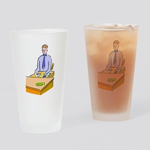 Bank Teller Drinking Glass