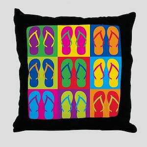 Pop Art Flip Flops Throw Pillow
