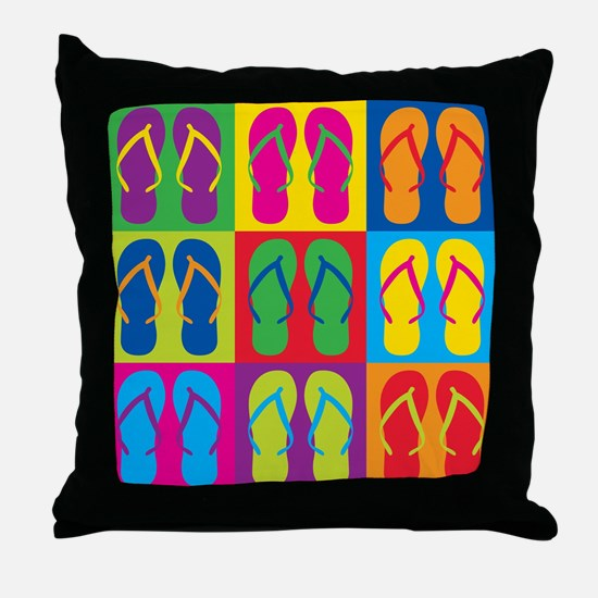 Pop Art Flip Flops Throw Pillow