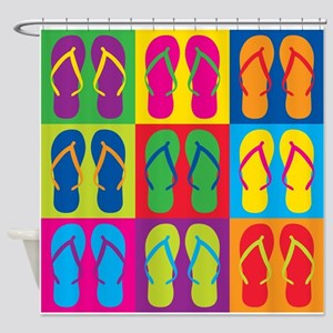 Pop Art Flip Flops Shower Curtain