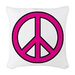 Pink Peace Sign Woven Throw Pillow
