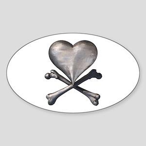 Antique Pirate Heart Oval Sticker