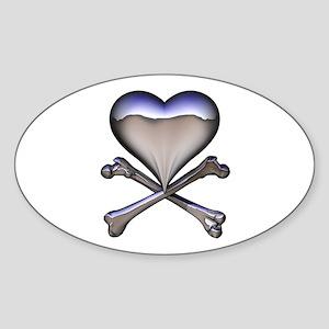Chrome Pirate Heart Oval Sticker