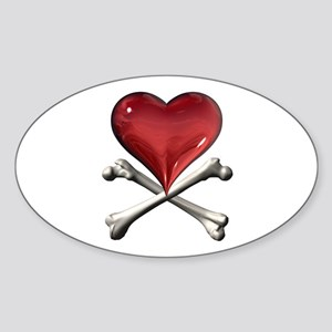 Red Pirate Heart Oval Sticker