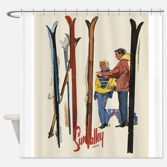 Sun Valley Idaho, Vintage Skiing Shower Curtain