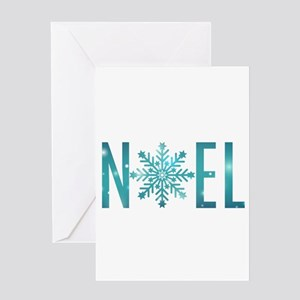 Blue Noel Snowflake Greeting Cards