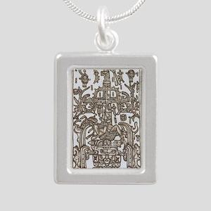 Mayan Ruler Pakal Kim  Silver Portrait Necklace