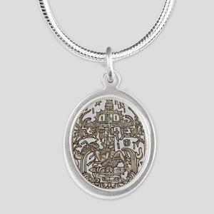 Mayan Ruler Pakal Kim  Silver Oval Necklace