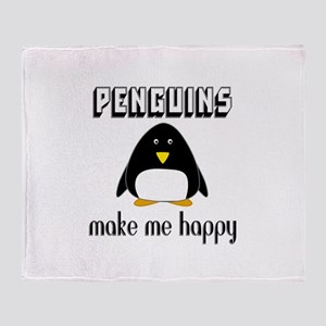 Penguins Make Me Happy Throw Blanket