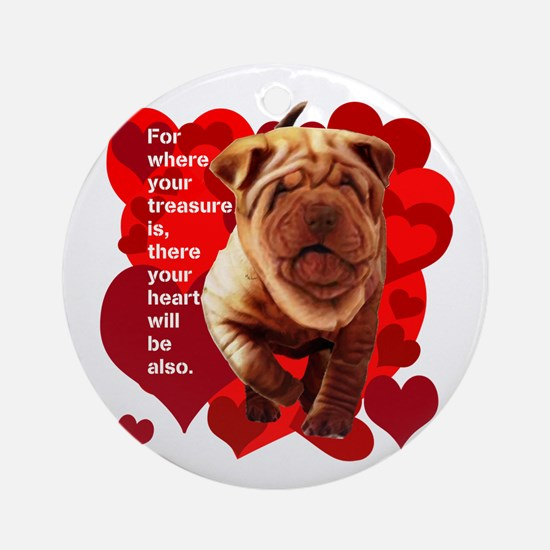 shar pei hearts Ornament (Round)