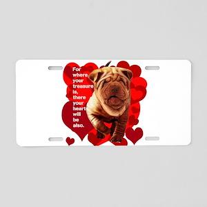 shar pei hearts Aluminum License Plate