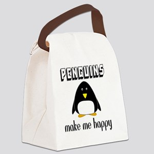 Penguins Make Me Happy Canvas Lunch Bag