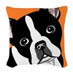 Boston Terrier Woven Throw Pillow